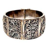 Vintage Chinese Export Silver Four Seasons Panel Link Bracelet