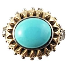 Vintage Barbara Bixby Sterling Silver and 18K Yellow gold Turquoise Ring Size 8.5
