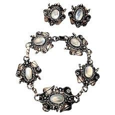 Vintage Sterling Silver and Clear Moonstone Flower and Leaf Link Bracelet and Earrings Set