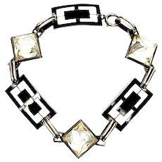 Vintage Art Deco Sterling Silver Black and White Enamel Link and Clear Gem Bracelet