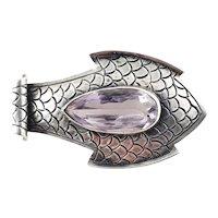 Vintage 800 Silver Fish Amethyst Pin/Pendant