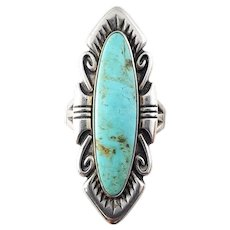 Vintage Bell Trading Post Sterling Silver Turquoise Linear Ring Size 8