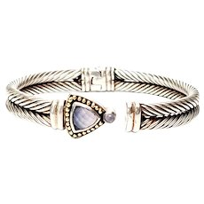 Samuel Benham Sterling Silver 14K Gold Chalcedony Cable Hinged Cuff Bracelet