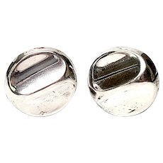 Pineda TP-17 Taxco Sterling Silver Round Clip-On Earrings