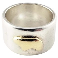 Vintage The Golden Bear Two Tone Sterling Silver and 14K Yellow Gold Cigar Band Ring Size 6.75