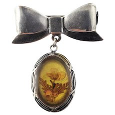 Vintage Silver Bow Pin with Reverse Painted Flower Oval Pendant