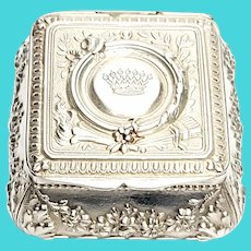 Antique Small French Silver Floral Snuff Box