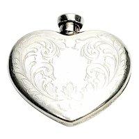 Vintage Charles Thomae Sterling Silver Etched Design Heart Shaped Perfume Bottle