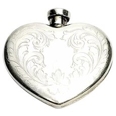 Vintage Charles Thomae Sterling Silver Etched Design Heart Shaped Perfume Bottle