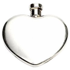 Vintage Charles Thomae Sterling Silver Heart Shaped Perfume Bottle