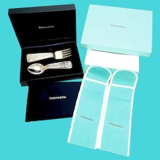 Vintage Tiffany & Co Sterling Silver ABC Bears Baby Fork and Spoon Set, Includes Boxes