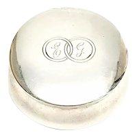 Vintage Italian 800 Silver Round Snuff Box with Monogram