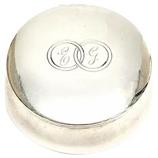 Vintage Italian 800 Silver Round Snuff Box with Monogram