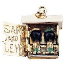 Vintage 14 Karat Yellow Gold Articulated Sam and Lew Outhouse Charm