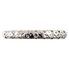 Vintage 14 Karat White Gold Diamond Wedding Band Ring Size 5.25
