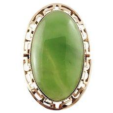 Vintage 14 Karat Yellow Gold and Jade Ring Size 8.75
