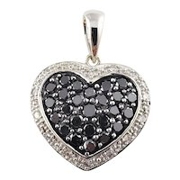 Vintage 10 Karat White Gold Black and White Diamond Heart Pendant