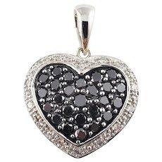Vintage 10 Karat White Gold Black and White Diamond Heart Pendant
