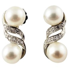 Vintage 18 Karat White Gold Pearl and Diamond Earrings