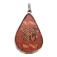Vintage Sterling Silver Woven Tribal Textile Pendant