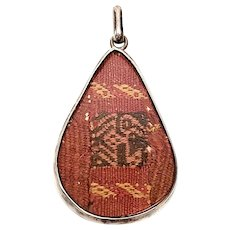 Vintage Sterling Silver Woven Tribal Textile Pendant