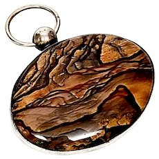 Sterling Silver Petrified Wood Oval Pendant Fob