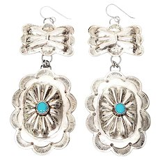 Native American Silver and Turquoise Concho and Butterfly Dangle Earrings