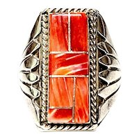 Signed Native American Sterling Silver Spiny Oyster Inlay Men's Ring, Size 12