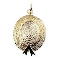 Vintage 14 Karat Yellow Gold Straw Boater Hat Charm