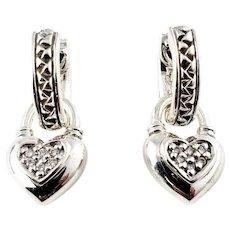 Vintage Scott Kay Sterling Silver and Diamond Heart Dangling Earrings