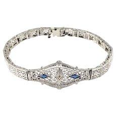 Vintage 10 Karat White Gold Filigree Sapphire and Diamond Bracelet