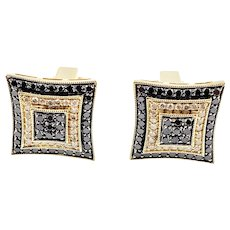 Vintage 14 Karat Yellow Gold and White Gold Black and White Diamond Cufflinks