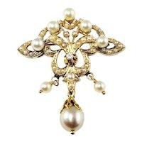 Vintage 14 Karat Yellow Gold Pearl and Diamond Brooch/Pin