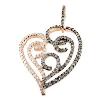 Vintage 10 Karat Rose Gold Champagne and White Diamond Heart Pendant