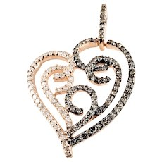 Vintage 10 Karat Rose Gold Champagne and White Diamond Heart Pendant