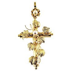 Vintage 10 Karat Yellow Gold and Pearl Cross Pendant
