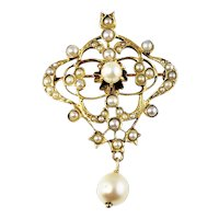 Vintage 14 Karat Yellow Gold and Pearl Brooch/Pendant