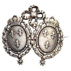 Antique French Coat of Arms Fleur de Lis Crest Silver Brooch/Pin