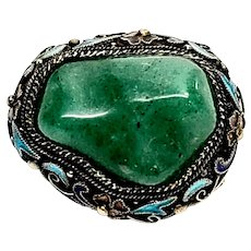 Vintage Chinese Export Gold Gilt over Silver Jade and Enamel Brooch/Pin