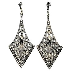Vintage Silver Marcasite and Onyx Long Triangle Drop Earrings