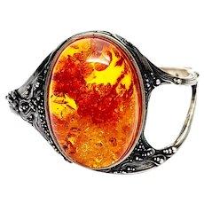 Sterling Silver Textured Large Amber Hinged Bangle Bracelet