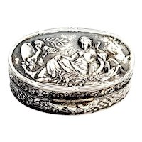 Antique 800 Silver Small Oval Cherub Pill Box