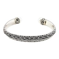 Vintage Bali Indonesia Sterling Silver and Pearl Cuff Bracelet