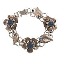 Vintage Sterling Silver Vermeil Flower Link Blue Stone Bracelet