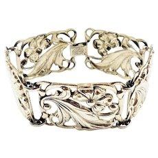 Vintage Sterling Silver Danecraft Floral Panel Link Bracelet