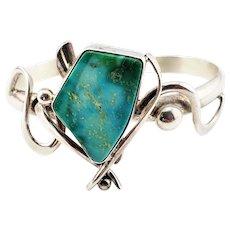 Vintage Native American Les Baker Sterling Silver Turquoise Modernist Cuff Bracelet