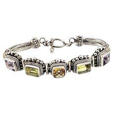 Vintage Bali Indonesia Sterling Silver Multi Gemstone Toggle Flexible Bracelet