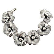 Vintage Danecraft Textured Sterling Silver Flower Link Bracelet
