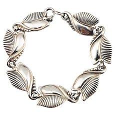 Vintage Danecraft Sterling Silver Floral Leaf Bracelet