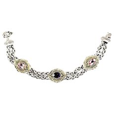 Vintage William Schraft Sterling Silver and 18K yellow gold Filigree Pink Topaz and Amethyst Double Weave Bracelet